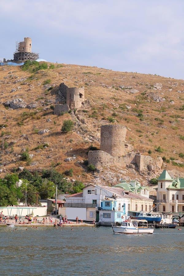 Veiw to Balaclava, Crimea. From the hill royalty free stock image