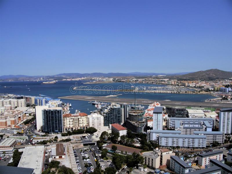 veiw to Gibraltar city from the Rock royalty free stock image