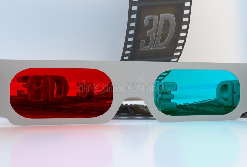Veja completamente 3D os vidros - película abstrata ilustração do vetor
