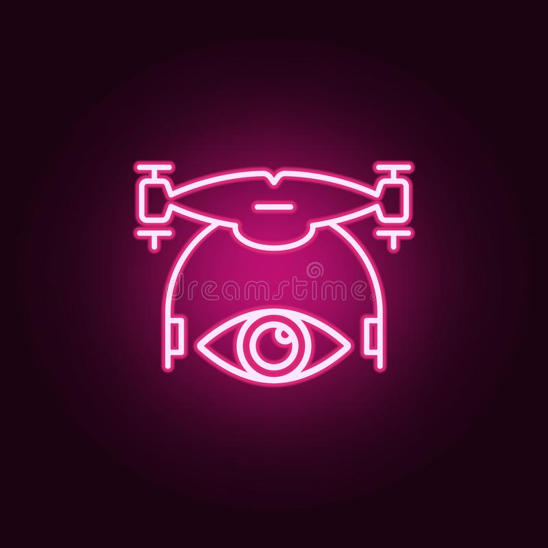 veja o ícone do zangão Elementos dos zangões nos ícones de néon do estilo Ícone simples para Web site, design web, app móvel, grá ilustração royalty free