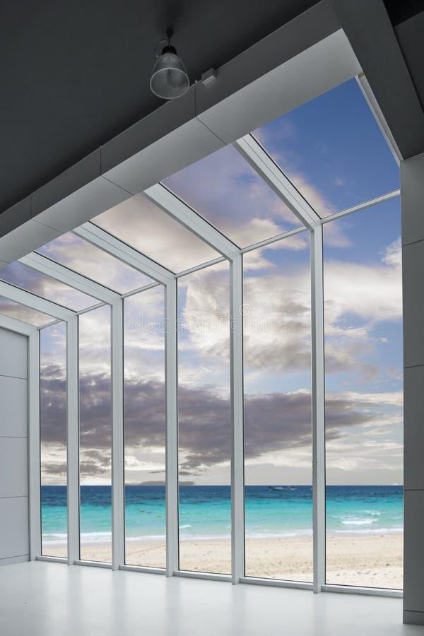 veja o mar da praia tropical bonita do seascape e do céu azul e o céu, fotos de stock royalty free