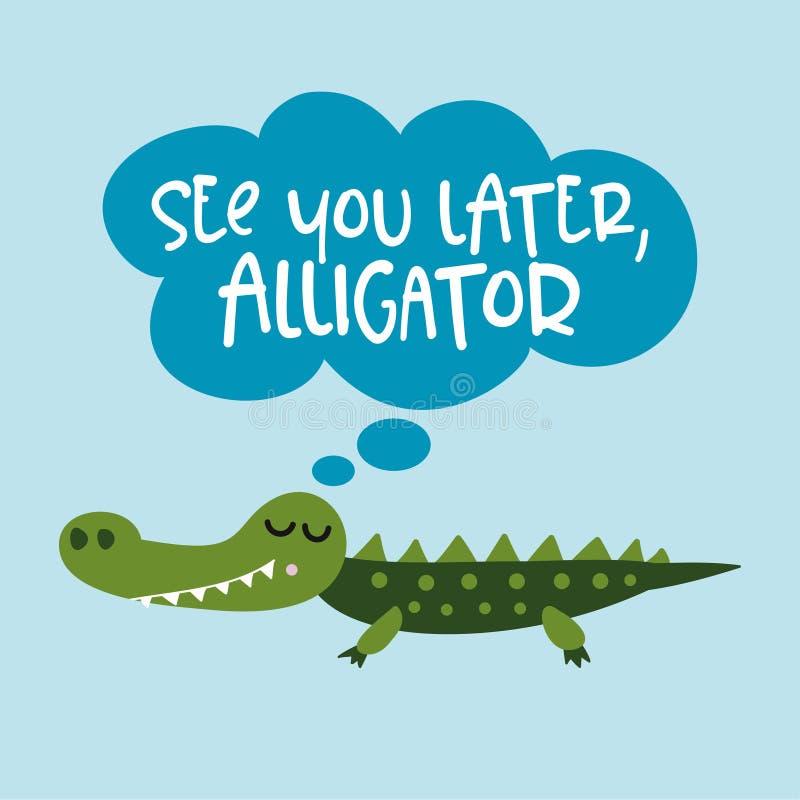 Veja-o um jacaré mais atrasado, em um tempo crocodilo! ilustração do vetor