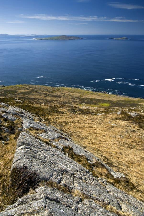 Veja a parte superior do monte, ilha de Harris, Hebrides exterior, Escócia imagem de stock