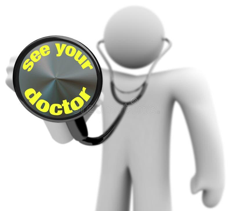 Veja seu doutor - estetoscópio ilustração stock