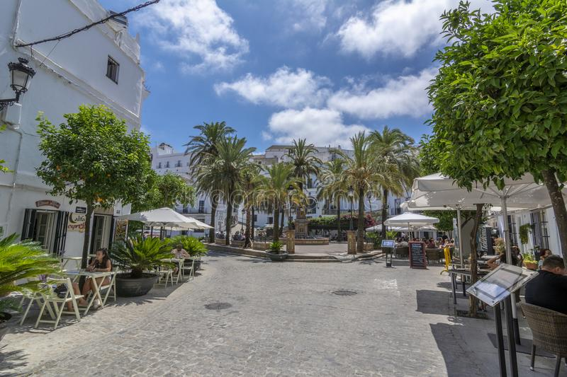 Central square of the town of Vejer de la Frontera and its splendid source, a small town near Cadiz. Vejer de la Frontera, Andalucia, Spain, July 2017: The main stock photos