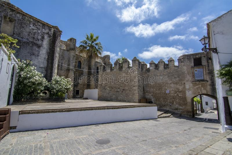 Moorish castle of Vejer de la Frontera in Andalucia. Vejer de la Frontera, Andalucia, Spain, July 2017: Part of the castle wall battlements of Vejer de la royalty free stock photo