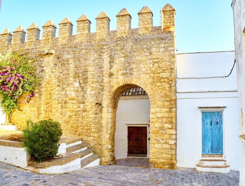 Vejer de la Frontera downtown. Cadiz province, Andalusia, Spain. Arch of the Closed Door, Arco de la Puerta Cerrada, in the Jewish quarter of Vejer de la stock photos