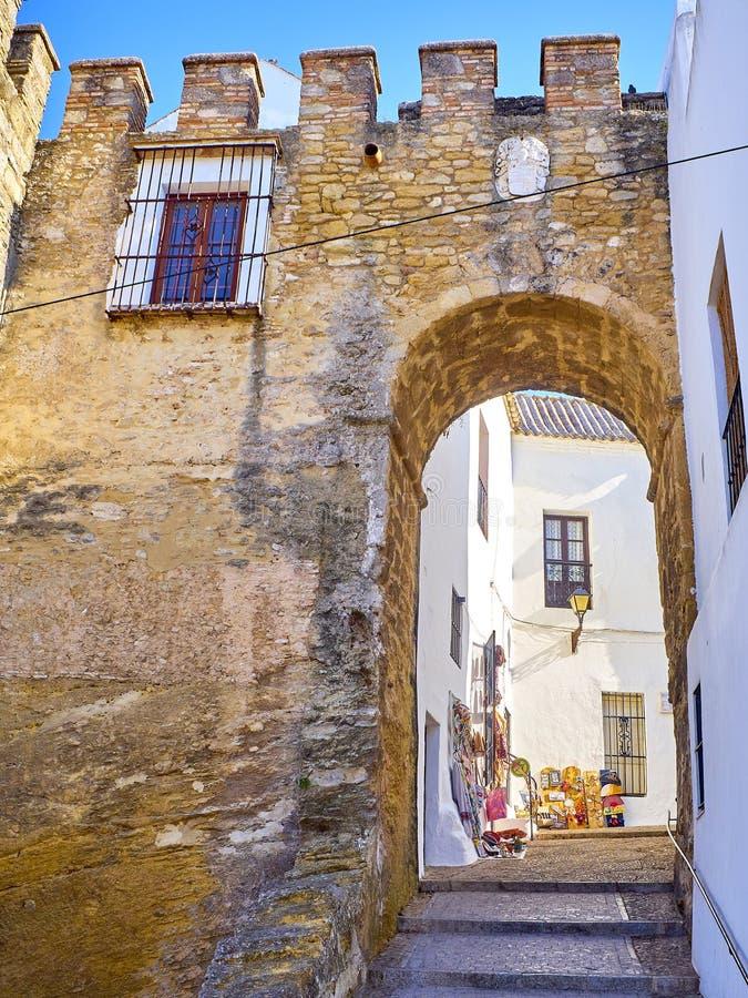 Vejer de la Frontera downtown. Cadiz province, Andalusia, Spain. Vejer de la Frontera, Spain - June 26, 2019. Arch of Sancho IV, Puerta de Sancho IV, in the stock photography