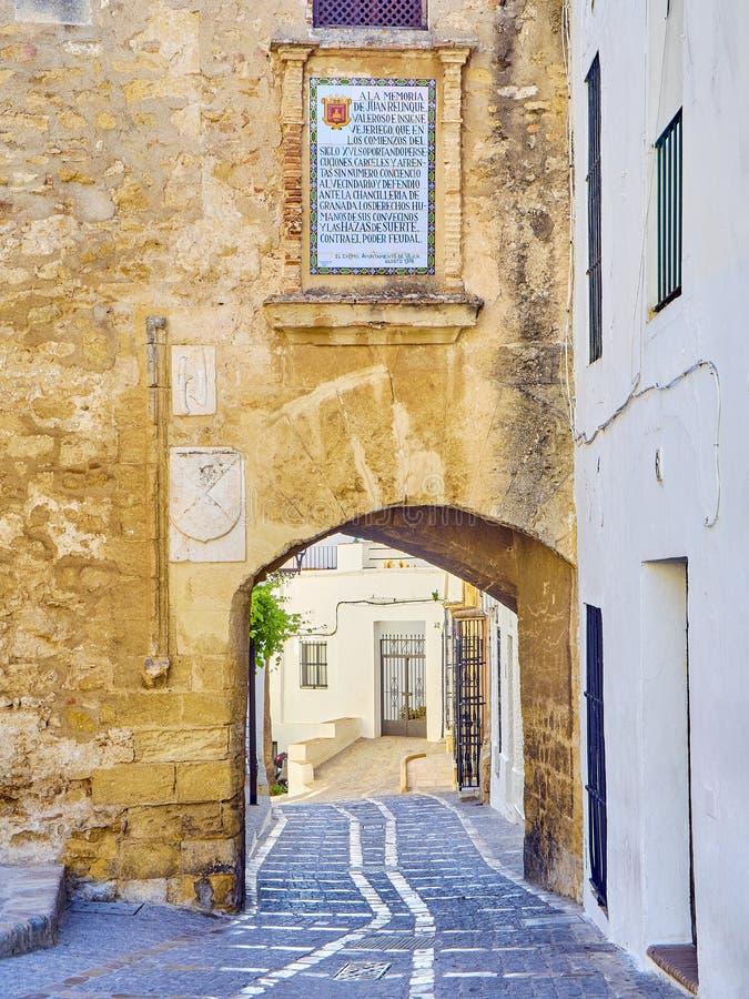 Vejer de la Frontera downtown. Cadiz province, Andalusia, Spain. Arch of La Segur, Arco de La Segur, in the Marques de Tamaron street. Vejer de la Frontera stock images