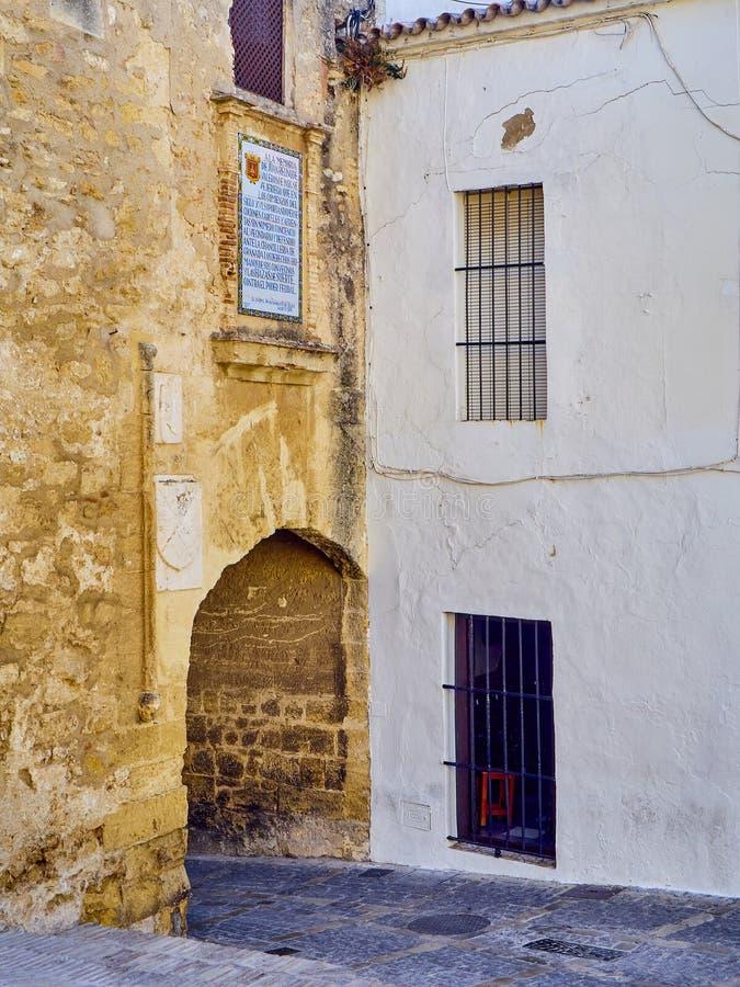 Vejer de la Frontera downtown. Cadiz province, Andalusia, Spain. Arch of La Segur, Arco de La Segur, in the Marques de Tamaron street. Vejer de la Frontera stock photography