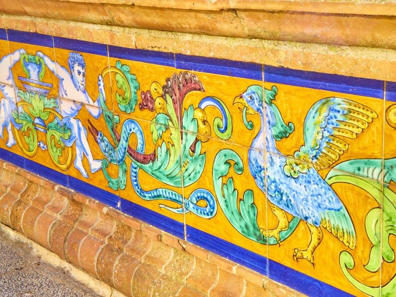Vejer de la Frontera downtown. Cadiz province, Andalusia, Spain. Detail of The tiled fountain of the Plaza de Espana square also know as Plaza de los Pescaitos royalty free stock photos