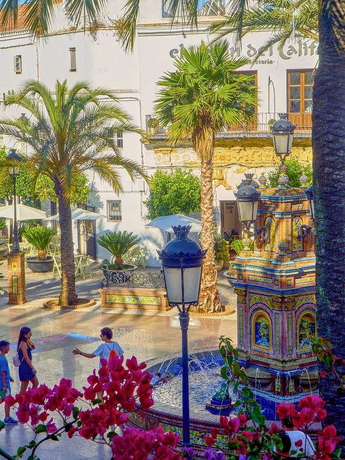 Vejer de la Frontera downtown. Cadiz province, Andalusia, Spain. Vejer de la Frontera, Spain - June 26, 2019. Detail of The tiled fountain of the Plaza de Espana royalty free stock photo