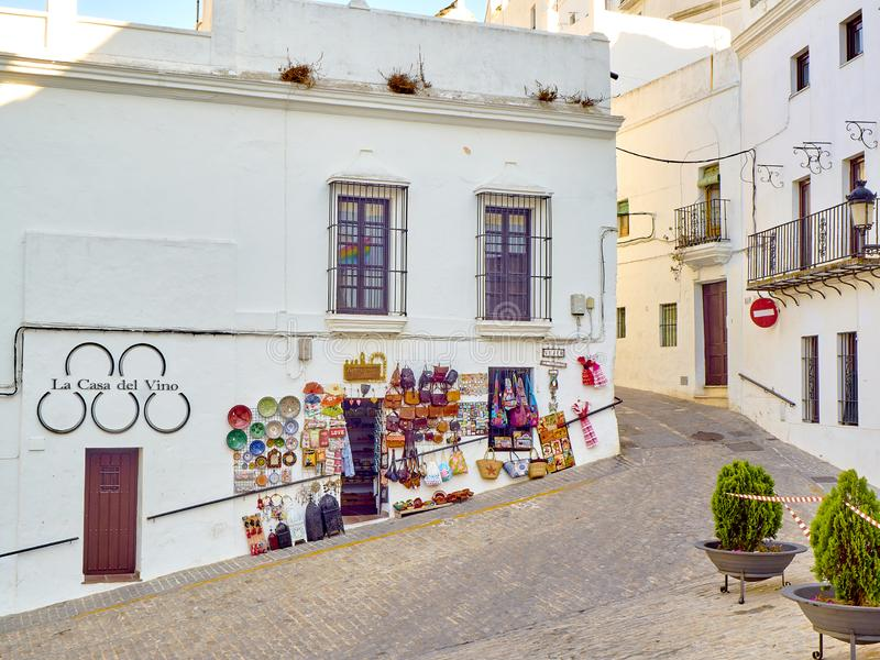 Vejer de la Frontera downtown. Cadiz province, Andalusia, Spain. Vejer de la Frontera, Spain - June 26, 2019. A typical street with whitewashed walls of Vejer de royalty free stock photo