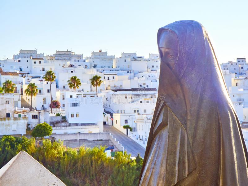 Vejer de la Frontera downtown. Cadiz province, Andalusia, Spain. Rooftops view of Vejer de la Frontera downtown, with the Cobija monument in the foreground stock images