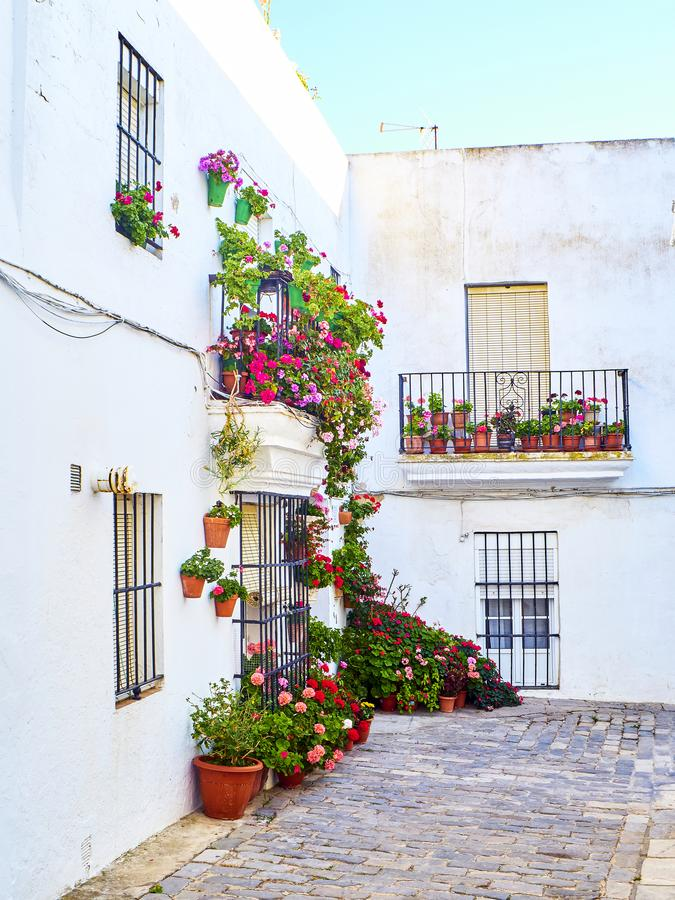 Vejer de la Frontera downtown. Cadiz province, Andalusia, Spain. A typical street of whitewashed walls of Vejer de la Frontera downtown. Cadiz province royalty free stock photos