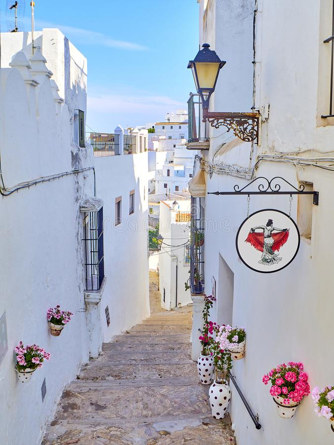 Vejer de la Frontera downtown. Cadiz province, Andalusia, Spain. Vejer de la Frontera, Spain - June 26, 2019. Calle Jesus, a typical street of whitewashed walls stock photography