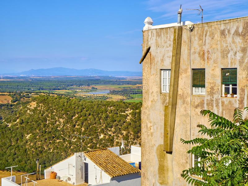 Vejer de la Frontera downtown. Cadiz province, Andalusia, Spain. A view of the Region of La Janda with the Marshes of Barbate river. View from La Corredera stock photo
