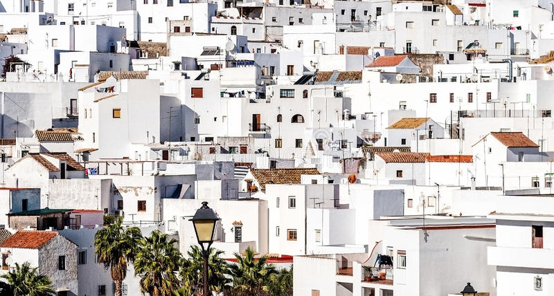 Vejer de la Frontera rooftops. Costa de la Luz, Spain stock photo