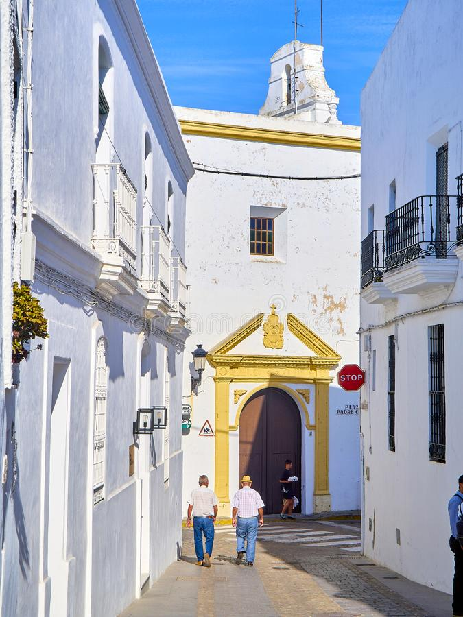 Vejer de la Frontera downtown. Cadiz province, Andalusia, Spain. Vejer de la Frontera, Spain - June 26, 2019. La Corredera, a typical street of whitewashed walls stock image
