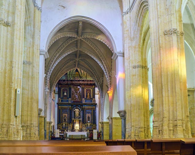 Vejer de la Frontera downtown. Cadiz province, Andalusia, Spain. Vejer de la Frontera, Spain - June 26, 2019. Nave of Divino Salvador church. Vejer de la stock photos