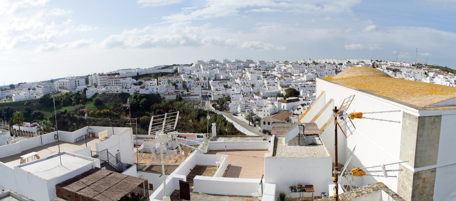 Vejer de la Frontera, Spain. Panoramic, landscape, aerial view of Vejer de la Frontera town. Vejer de la Frontera is a little town near Cadiz in Andalusia royalty free stock photos