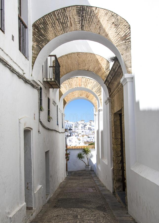 Looking through an archway in Vejer, Spain stock photos