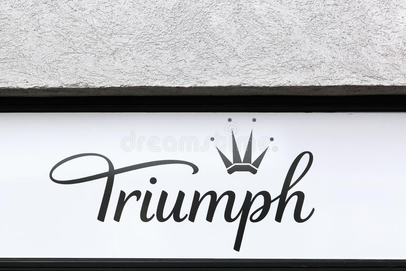Triumph underwear logo on a wall stock photography