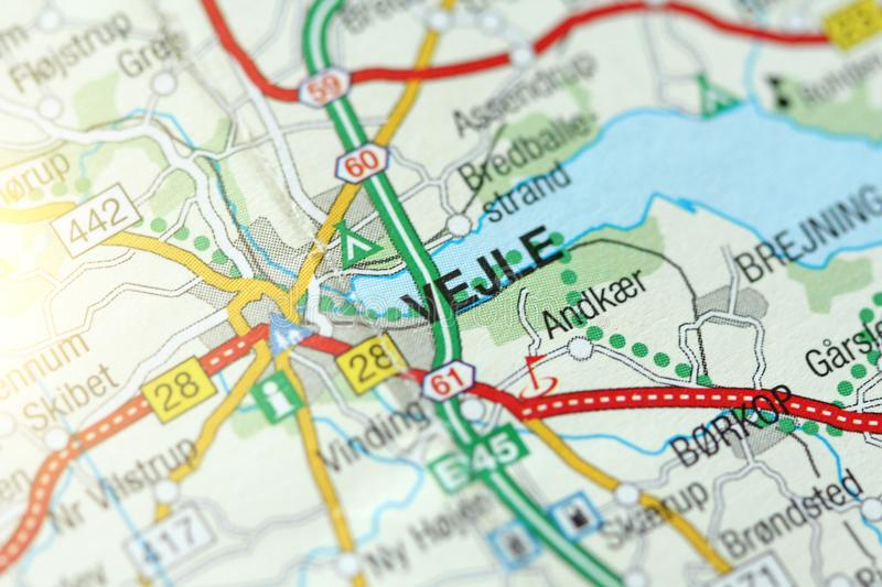 Vejle. Kongeriget Danmark. A paper map and roads on the map stock photo