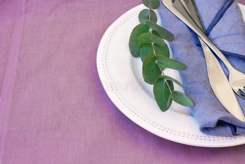 Vek den keramiska plattan för den vita tappningprydnaden den blåa filialen för eukalyptuns för silverdollaren för servettgaffelkn royaltyfria foton