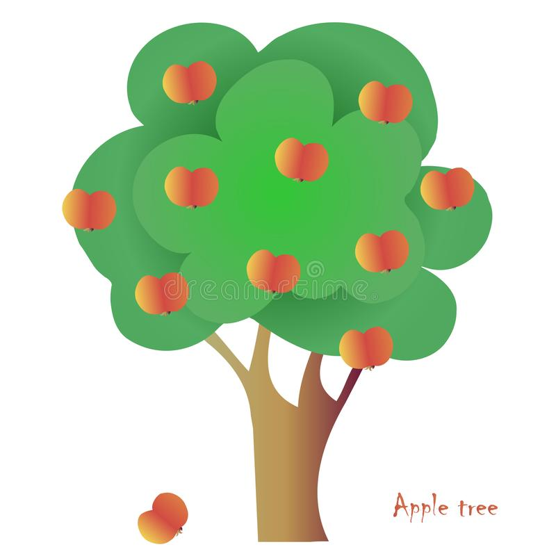 Vektoräppleträd för emblem, för symbol, för den drog garneringhanden stock illustrationer