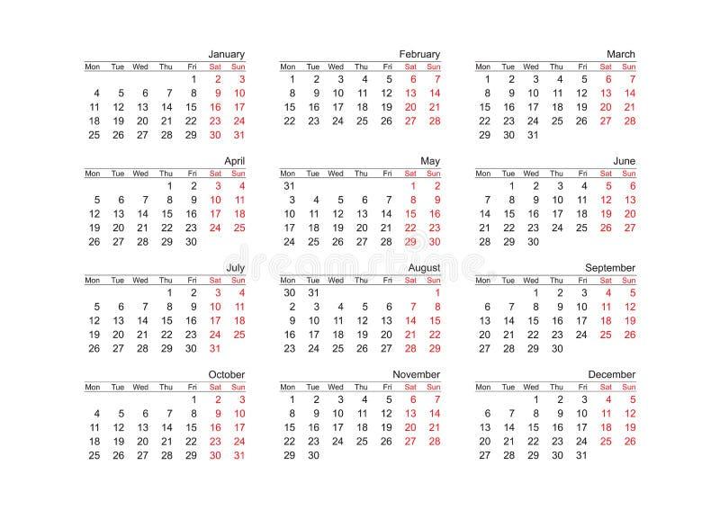 vektorår för 2010 kalender vektor illustrationer