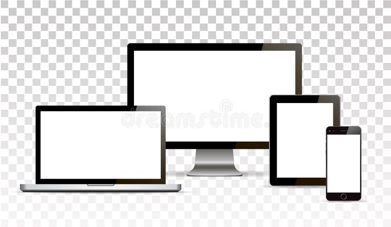 Vektoråtlöje upp Uppsättning av tomma skärmar Dator minnestavla på genomskinlig bakgrund isolerat royaltyfri illustrationer