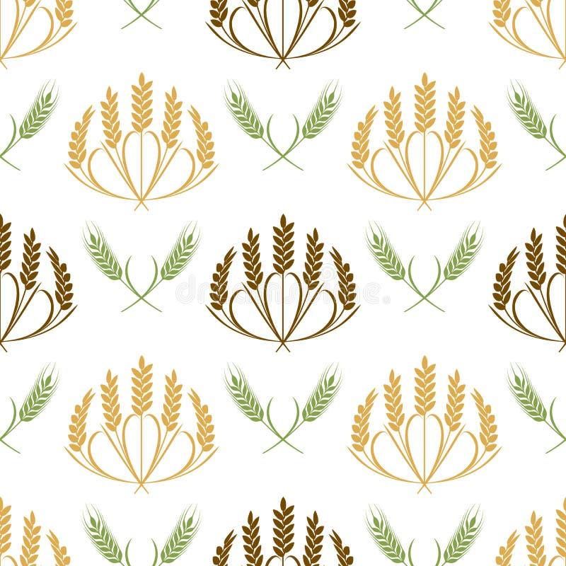 Vektoröron av den sömlösa modellillustrationen för vete och för korn vektor illustrationer