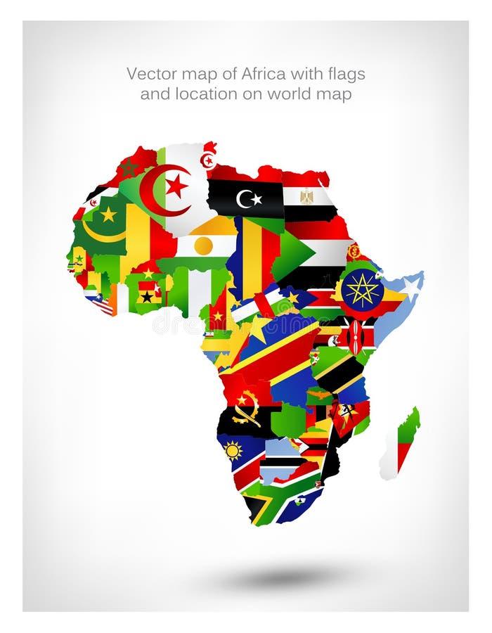 Vektoröversikt av Afrika med flaggor och läge på världskarta royaltyfri illustrationer