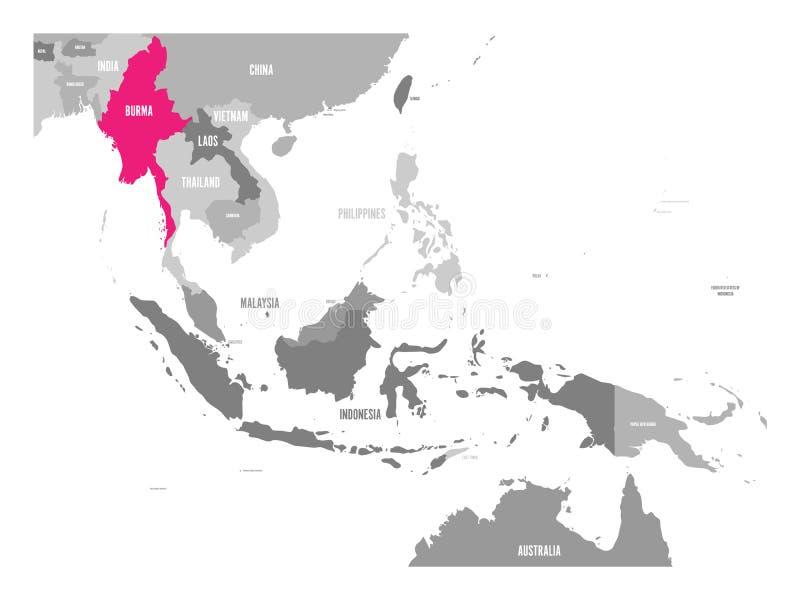 Vektoröversikt av Burman eller Myanmar Rosa färger som markeras i den South East Asia regionen royaltyfri illustrationer