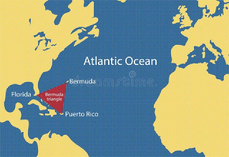 Vektoröversikt av den Bermuda triangeln stock illustrationer