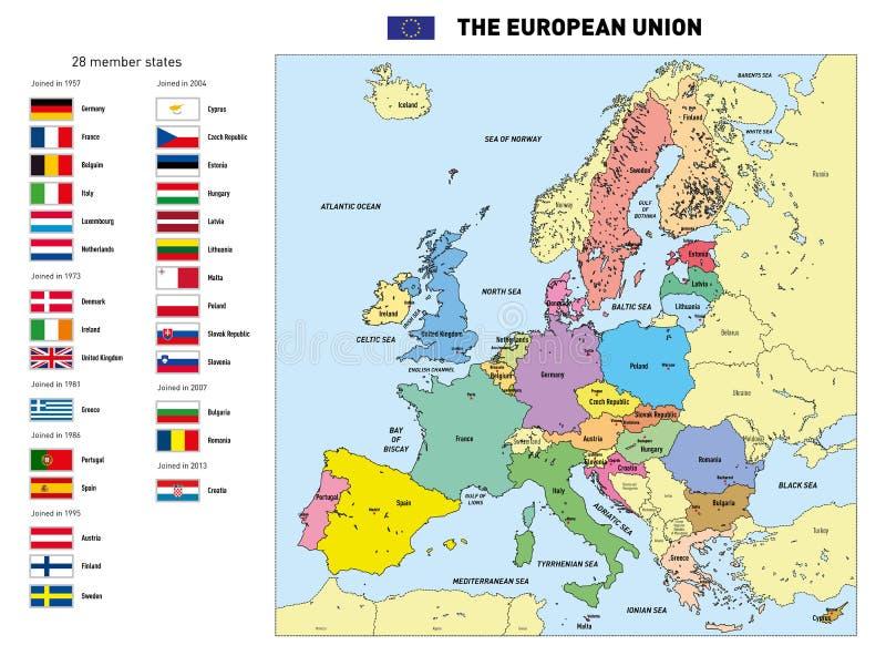 Vektoröversikt av den europeiska unionen royaltyfri illustrationer