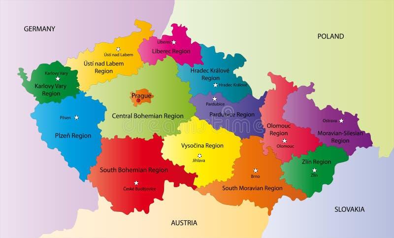 Vektoröversikt av den tjeckiska republiken stock illustrationer