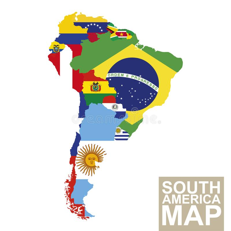 Vektoröversikt av Sydamerika med flaggor royaltyfri illustrationer
