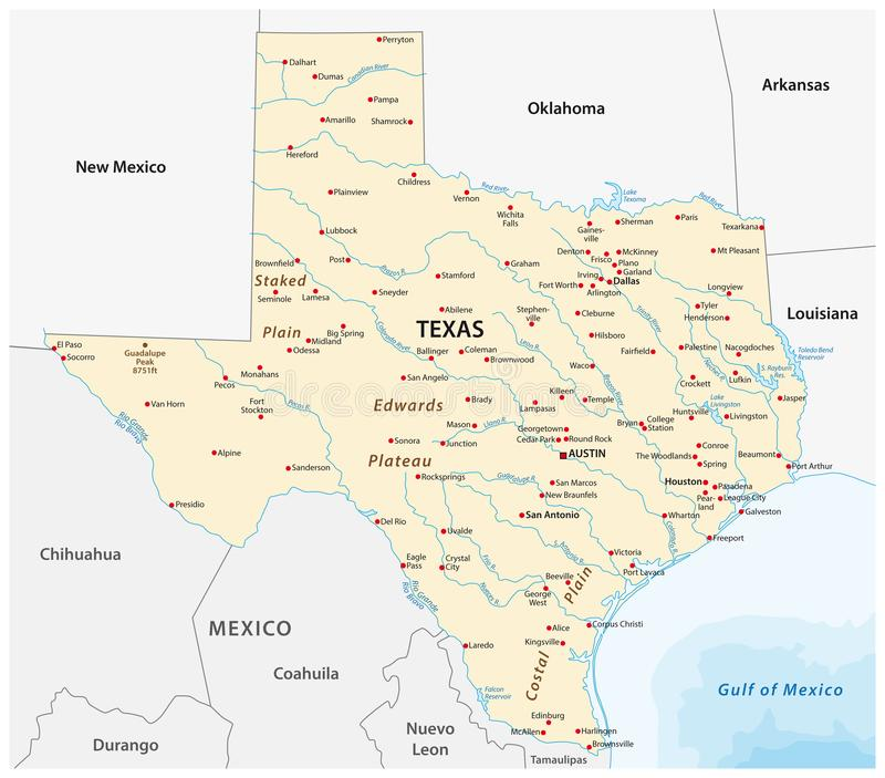 Vektoröversikt av Uen S tillstånd texas royaltyfri illustrationer