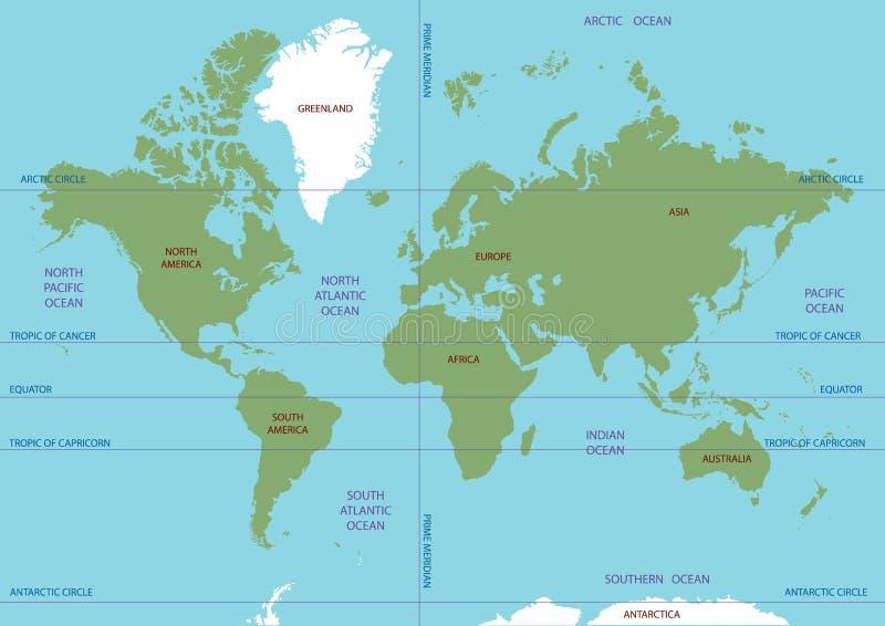 Vektoröversikt av världen Hav och kontinenter på en plan projektion stock illustrationer