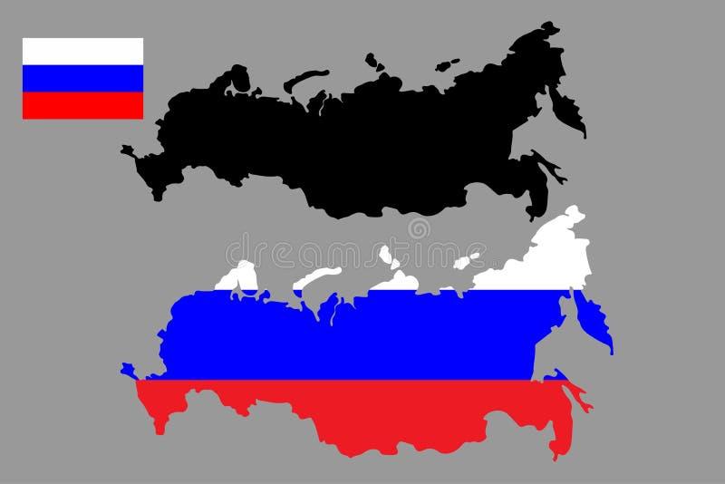 Vektoröversikt och flagga för rysk federation ocks? vektor f?r coreldrawillustration royaltyfri illustrationer