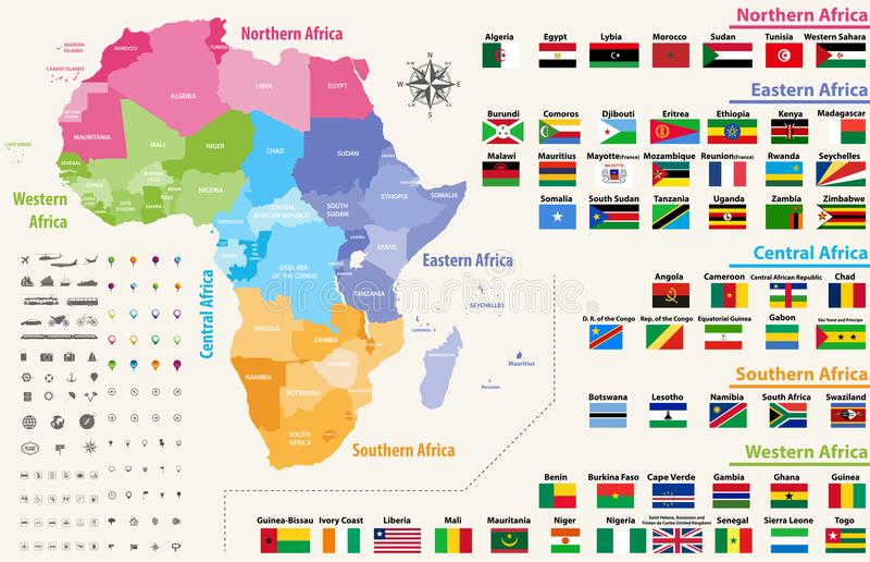 vektoröversikten av den Afrika kontinenten färgade vid regioner Alla flaggor av afrikanska länder som är ordnade i alfabetisk ord royaltyfri illustrationer