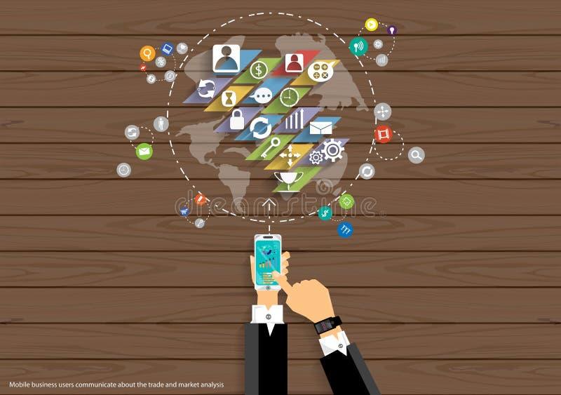Vektoröversikten av världens symbolerna för affären, för handeln, för marknadsföringen och för den globala affären för mobila kom royaltyfri illustrationer