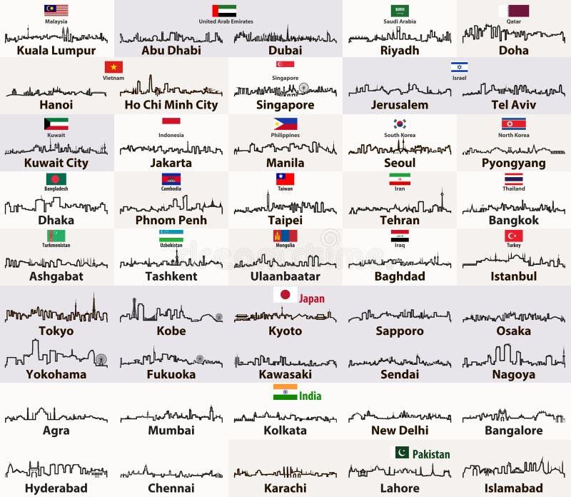Vektoröversikter av asiatiska stadshorisonter royaltyfri illustrationer