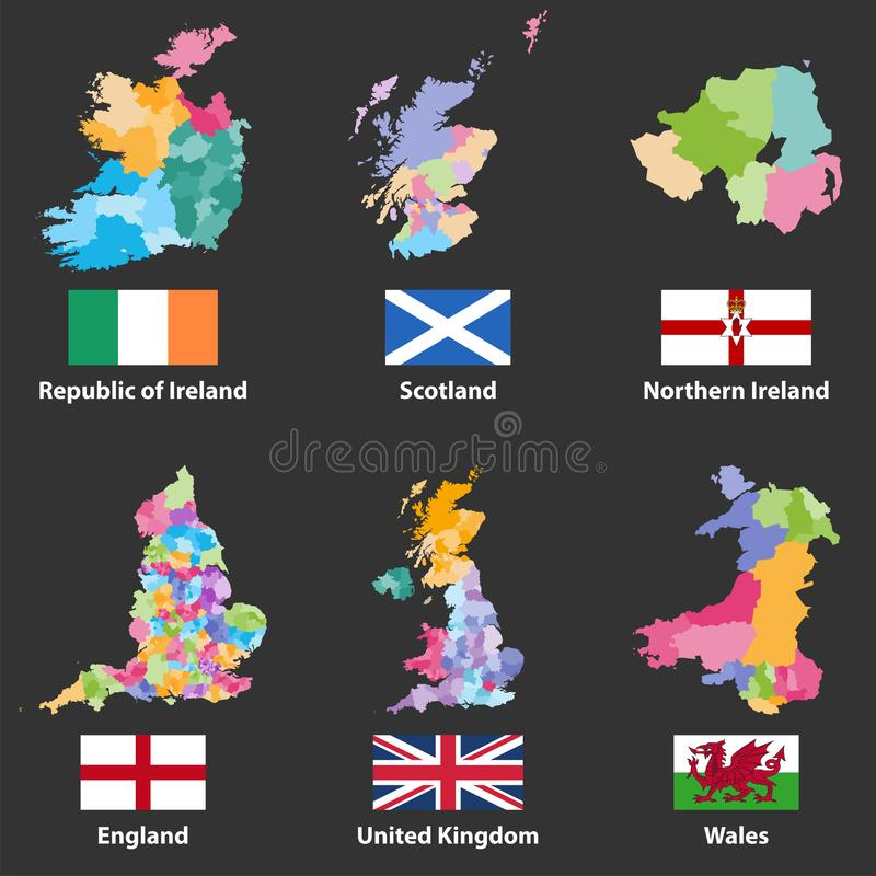 Vektoröversikter och flaggor av Republiken Irland, Skottland som, är nordliga - Irland, England, Förenade kungariket och Wales royaltyfri illustrationer