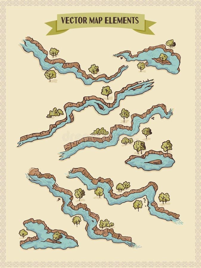 Vektoröversiktsbeståndsdelar som är färgrika, handattraktion - vatten, floder, sjöar, öar stock illustrationer
