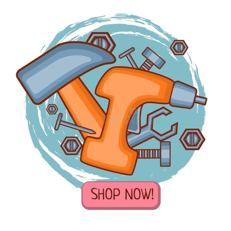 Vektoröversiktshanden bearbetar mallen för emailing eller baner- eller subsriptionleverans på hjälpmedelproducentwebsiten, inform royaltyfri illustrationer