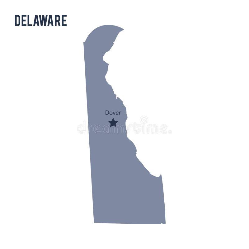 Vektoröversiktsstaten av Delaware isolerade på vit bakgrund vektor illustrationer