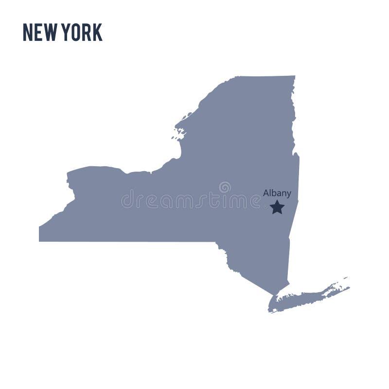 Vektoröversiktsstaten av New York isolerade på vit bakgrund royaltyfri illustrationer